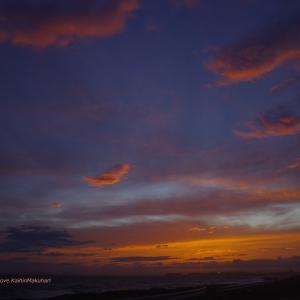 雲の湧く夕焼け