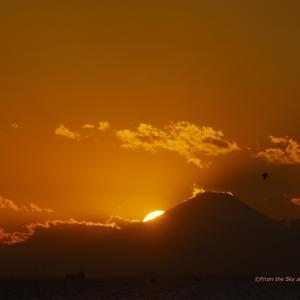 夕空と雲と富士山