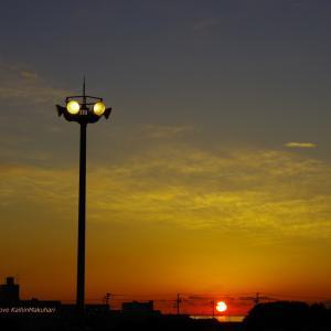幕張メッセ駐車場の夕日