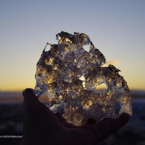夕日に輝く氷