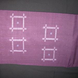 井桁模様の紬の帯&麻マスク&納豆