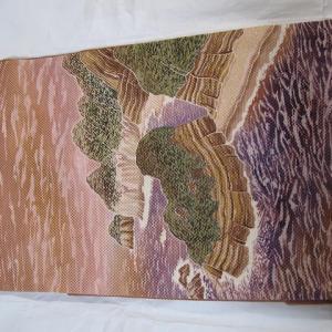 いただきものシリーズその4,堂ヶ島を描いた魚子織りの帯♪