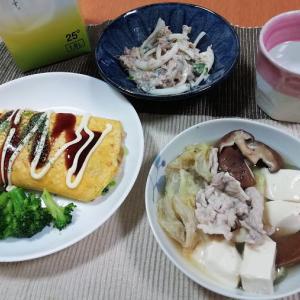 ボリューム満点!節約オムもやし、サバ水煮缶と玉ねぎのサラダ、白菜と豆腐の煮物