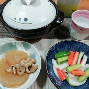 ひとり鍋、黒酢で簡単ピクルス、大根煮など