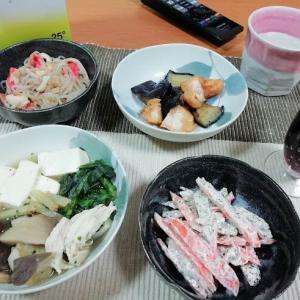 業スーのきのこミックス煮こみ、人参と菊芋の黒ゴマサラダ他