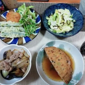 キャベツの塩昆布和え、揚げナスと豚肉と玉ねぎのオイスターソース炒め、がんも煮、おくら天他