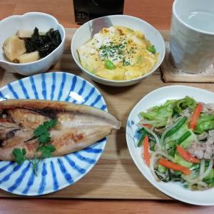 ホッケの開き、肉野菜炒め、豆腐と卵のふんわり炒め、たけのことワカメのうま煮