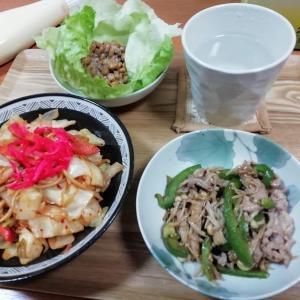 野菜たっぷり焼きそば、豚肉とピーマンとえのきの中華風炒め、納豆レタス巻き巻き