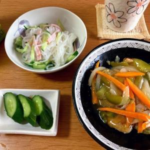 サバ竜田の甘酢あんかけ、春雨風しらたきサラダ
