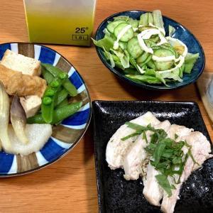 電子レンジでチキンハム、厚揚げと長芋の煮物、サラダ