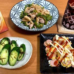 鶏肉の青椒肉絲風、魚肉ソーセージと卵炒め