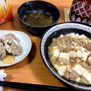 モヤシ入り麻婆豆腐、焼売、とろろ昆布酢
