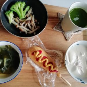 今日の朝昼ごはんと晩酌、カレーとパン