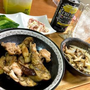 鶏モモ肉とナスの生姜焼き、しめじ醤油バター、カニカマの辛子マヨ和え