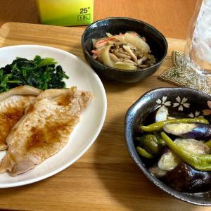 豚の生姜焼き、茄子とししとうのマヨポン炒め、しめじマリネ