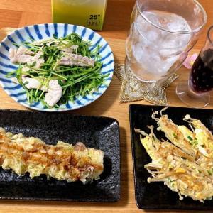 エノキの黄金焼、豆苗と豚肉炒め、ちくわ天