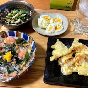 もずく酢デラックス、ごぼうの天ぷら、ほうれん草としめじのナムル、ゆで卵