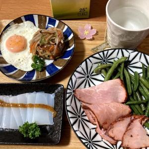 長浜のスーパーで買ったお惣菜、焼豚、豆腐ハンバーグなど