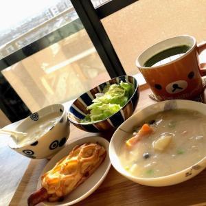 今日の朝昼晩ごはん、シチュー、ハンバーグ、アジフライ