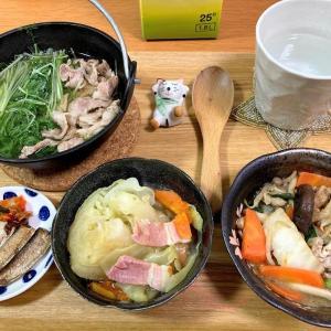水菜と豚肉のハリハリ鍋、電気圧力鍋キャベツとベーコン煮ほか