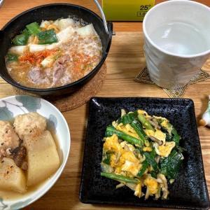 納豆とうふチゲ、ニラしめじ玉、鶏団子と大根の煮物