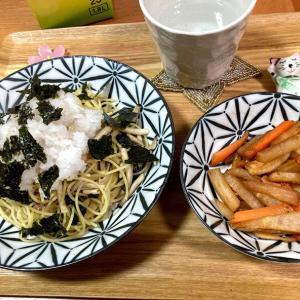 ポポロの低糖質麺でツナおろしパスタ、大根と人参のキンピラ