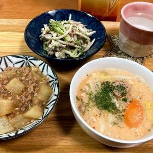 麻婆大根、キムチ豆乳スープ、鯖水煮缶の玉ねぎとブロッコリーのサラダ