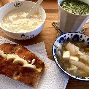 今日の朝昼晩と緑のペペロンチーノ