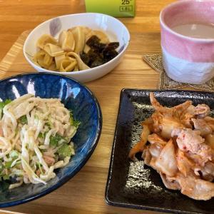 豚キムチ、切り干し大根とツナのサラダ、若竹煮