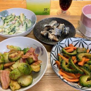 芽キャベツのペペロンチーノ炒め、ゴーヤと人参のキンピラ、マカロニサラダ