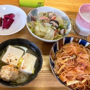 春雨ミートソース、白菜と豚ひき肉のとろとろ煮、鶏団子スープ