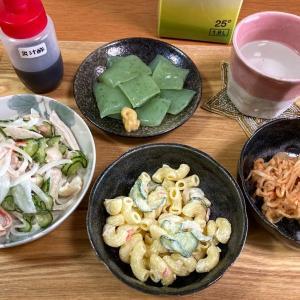 マカロニサラダ、鶏むね肉サラダ、切干大根キムチ和え、刺身こんにゃく
