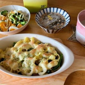 マカロニ豆腐グラタン、ブロッコリーと茹で卵のサラダ、もずく酢納豆