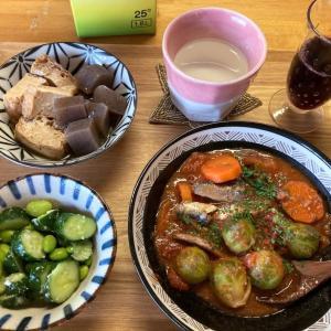 芽キャベツとオイルサーディンのトマト煮、キュウリと枝豆の塩麹、厚揚げとコンニャク煮