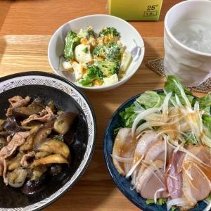 豚コマ麻婆ナス、ブロッコリーと茹卵のサラダ、合鴨スモーク