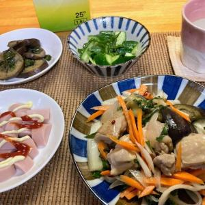 鶏肉の野菜たっぷり南蛮、魚肉ソーセージそのまま、さっぱりキュウリ