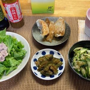 豚しゃぶ、ミョウガとキュウリの甘酢、冷凍餃子、ゴーヤの佃煮
