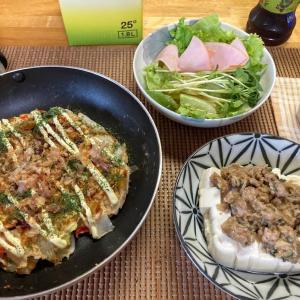 低糖質白菜のおからお好み焼き、肉そぼろあんかけ豆腐、ハムサラダ