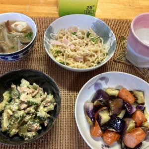 ナスとウインナーのガリポン炒め、ゴーヤとツナのサラダ、切干大根のマヨサラ、具沢山味噌汁