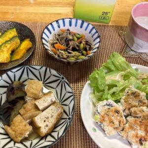 鶏むねミンチと豆腐のひじきつくね、切干大根の煮物、厚揚げとナス煮ほか