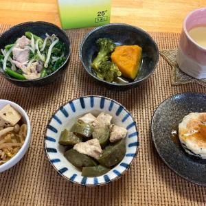 豆腐ハンバーグ、ツルムラサキと豚肉の炒め物、ブロッコリーとかぼちゃの煮物ほか