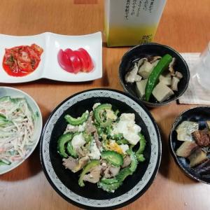 道の駅で野菜購入、ゴーヤチャンプルー、ニシンの煮物、ゴボウサラダ他