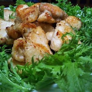 鶏むね肉のワサビマヨ揚げ + ワサビ菜