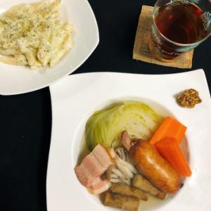 今日の晩ご飯 〜チーズペンネとポトフ〜