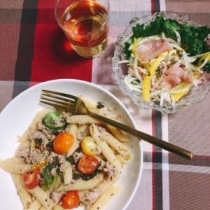 今日の晩ご飯 〜カラフルミニトマトとツナのペンネ〜