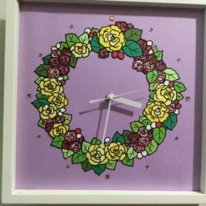 切り絵 ~薔薇の時計~