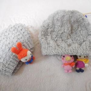 かぎ針編みから棒針編みへ変身~市松模様のベレー帽が完成(#^.^#)(#^^#)