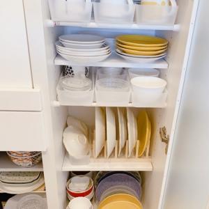 【キッチン:食器棚】一番の目標は出し入れを楽に出来るように工夫!(その1。一番上)。。