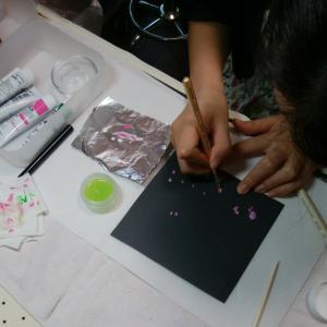 【名古屋市名東区ネイルスクール】ネイリスト技能検定3級に向けて、課題アートレッスン風景♪