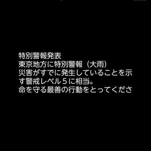 台風19号【警戒レベル5】東京地方に特別大雨警報!命を守る最善の行動をとってください